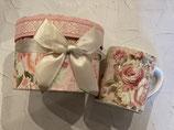 お花のマグカップ(ギフトボックス付き)ピンク