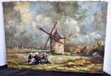 Huile sur toile Henri Leonard - Vieux Moulin à Cleden (Finistère)