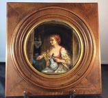 Femme à La Cruche - Peinture Sur Porcelaine XIXème