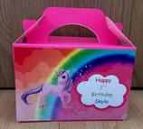 Unicorn Rainbow DIY Party Box/Bag LABELS Ref PB55 **NO BOX OR BAG SUPPLIED**