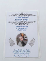 A6 Funeral, Memorial, Remembrance, Keepsake Cards Personalised Ref M3 blue