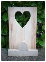Platte mit ausgesägtem Herz, Mini Herz und Querlatte
