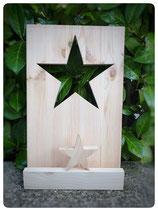 Platte mit ausgesägtem Stern, Mini Stern und Querlatte