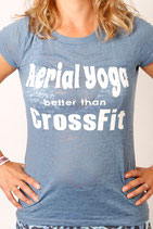 Aerial Yoga Better Than Crossfit Blue Burn-out Short Sleeve T-shirt