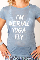 I'm Aerial Yoga Fly Blue Short Sleeve Burn-Out T-shirt