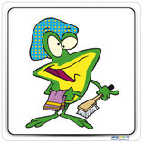 Adhésif ou panneau avec image cartoon grenouille