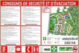 Consignes d'évacuation incendie 4 langues avec plan