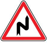 """Panneau A1c """"succession de virages dont le 1er est à droite"""""""