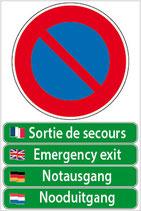Panneau stationnement interdit - Sortie de secours