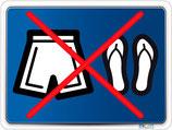 Caleçon et chaussures interdit
