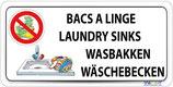 Bac à linge en 4 langues - Lavage vaisselle interdit