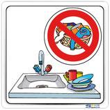 Plaque de porte bac à vaisselle -lavage linge interdit