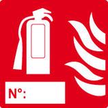 Extincteur avec numéro et pictogramme flamme