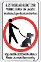 Pictogramme chien en laisse, nettoyer derrière lui