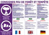 Consignes Feu de forêt et Tempête en 3 langues