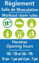 Règlement Salle de musculation avec horaires