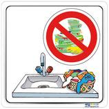 Plaque de porte bac à linge - lavage vaisselle interdit