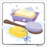 Adhésif ou panneau douche avec image savon, brosse et éponge