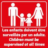 Pictogramme surveillance rouge. Famille avec texte en français et anglais