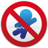 Interdit de nager avec pictogramme bleu