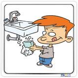 Plaque lavabo enfant avec contour