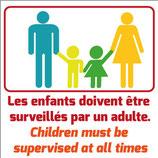 Pictogramme surveillance. Famille avec texte en français et anglais