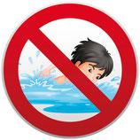 Baignade interdite avec dessin