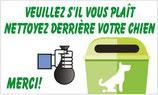 Panneau nettoyez derrière votre chien et jetez le sachet dans la poubelle