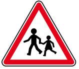 """Panneau A13a """"endroit fréquenté par les enfants"""""""