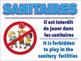 Panneau Sanitaires - Jeux interdits