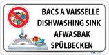 Bac à vaisselle en 4 langues - Lavage de linge interdit