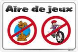 Chiens et vélos interdits sur l'aire de jeux
