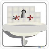 Plaque lavabo avec contour