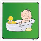 Plaque avec image bain bébé