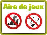 Panneau chien et fumer interdit sur l'aire de jeux - Blanc