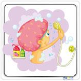 Adhésif ou panneau image douche fille