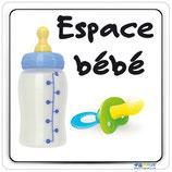 Plaque avec texte Espace bébé et image biberon