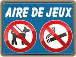 Panneau chien et fumer interdit sur l'aire de jeux - Bleu