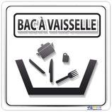Plaque de porte bac à vaisselle avec texte en Français