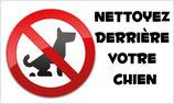 Panneau nettoyez derrière votre chien avec pictogramme