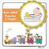 Plaque avec texte Bain bébé - Planche à langer