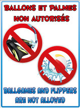 Panneau ballons et palmes non autorisé en 2 langues