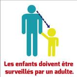 Pictogramme surveillance. Adult et enfant avec texte en français