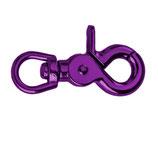 Scherenkarabinerhaken aus Metall, Candy Purple, runder Durchlass 13mm
