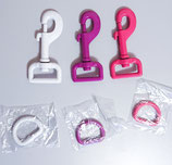 D-Ring aus Stahl, weiß, lila oder pink, 25mm breit