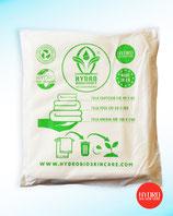Set di 3 Teli in Cotone Organico 100% Biodegradabile: Telo cortesia, telo viso, telo doccia imbustati in morbida sacca in cotone riutilizzabile