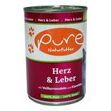 Pure Katzenmenü Herz & Leber mit Vollkornnudeln und Karotten