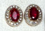 Rubin , Ohrstecker - Ruby Halo earrings, stud earrings