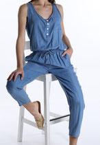 Jeans Look - Optik Overall mit Knöpfen, Schleife und Taschen