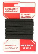 Elastiek zwart, 6mm, 10 meter